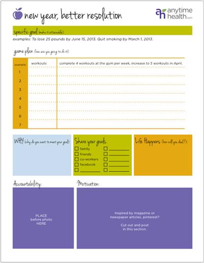 Weight Loss Goal Worksheet