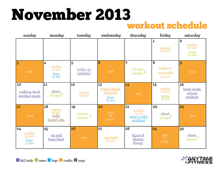Workout Calendar No Excuse November